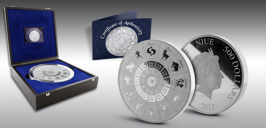 THE ZODIAC COIN 10 KILO SILVER PROOFLIKE - 99 PIECES WORLDWIDE